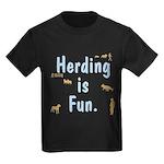 Herding is Fun Kids Dark T-Shirt