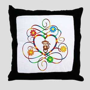 Monkey Lover Throw Pillow