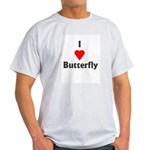 I Love Butterfly Ash Grey T-Shirt