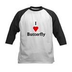I Love Butterfly Kids Baseball Jersey