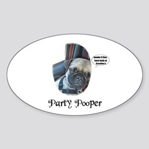 PARTY POOPER PUG Oval Sticker