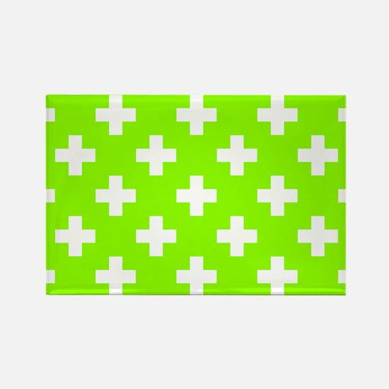 Lime Green Plus Sign Pattern Rectangle Magnet