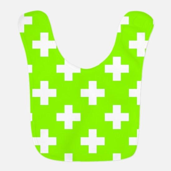 Lime Green Plus Sign Pattern Polyester Baby Bib