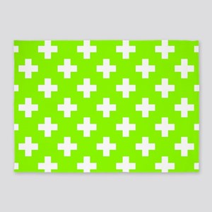 Lime Green Plus Sign Pattern 5'x7'Area Rug