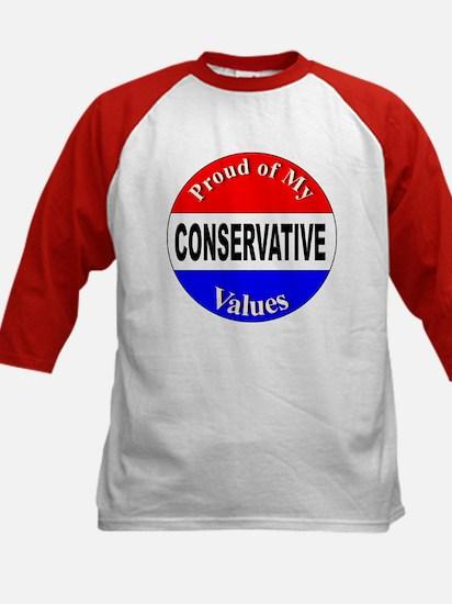 Proud Conservative Values (Front) Kids Baseball Je