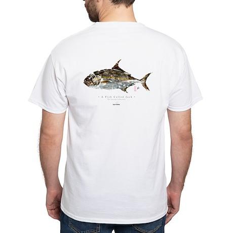 """AMBERJACK"" Gyotaku on White T-Shirt"