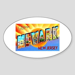 Newark New Jersey Greetings Oval Sticker