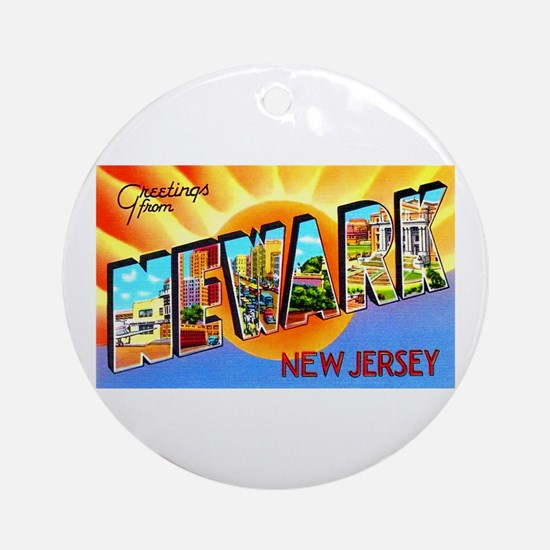 Newark New Jersey Greetings Ornament (Round)