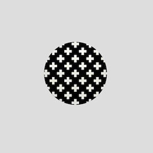Black & White Plus Sign Pattern Mini Button