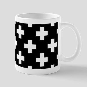Black & White Plus Sign Pattern Mug