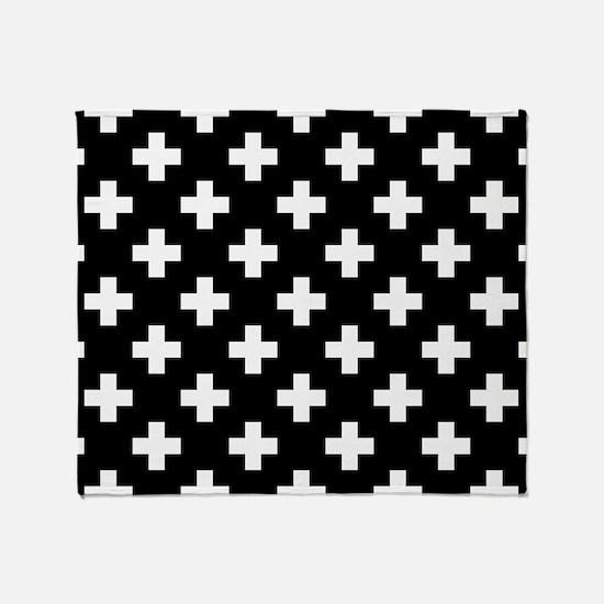 Black & White Plus Sign Pattern Throw Blanket