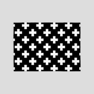 Black & White Plus Sign Pattern 5'x7'Area Rug