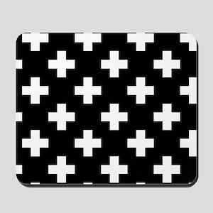 Black & White Plus Sign Pattern Mousepad