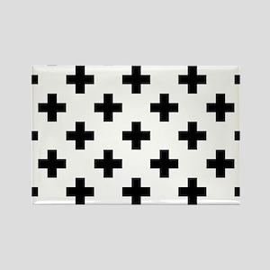 Black & White Plus Sign Pattern ( Rectangle Magnet