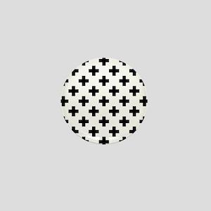 Black & White Plus Sign Pattern (Rever Mini Button