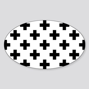Black & White Plus Sign Pattern (Re Sticker (Oval)