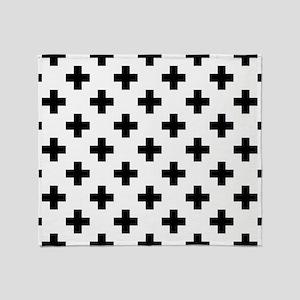 Black & White Plus Sign Pattern (Rev Throw Blanket