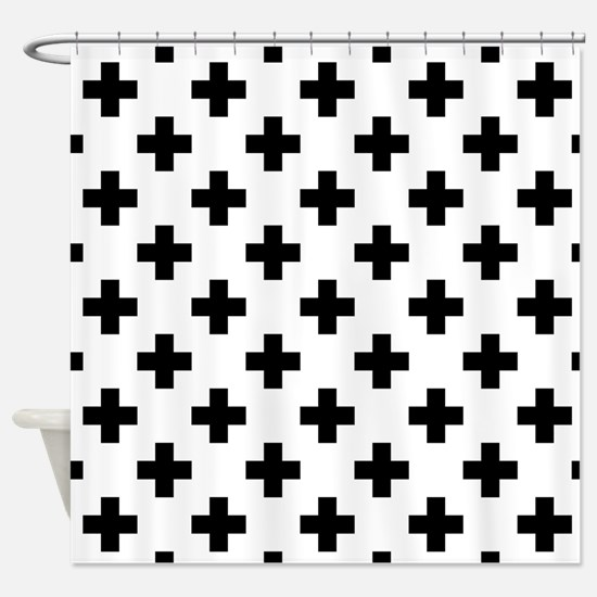 Black & White Plus Sign Pattern (Re Shower Curtain