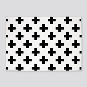 Black & White Plus Sign Pattern (Re 5'x7'Area Rug