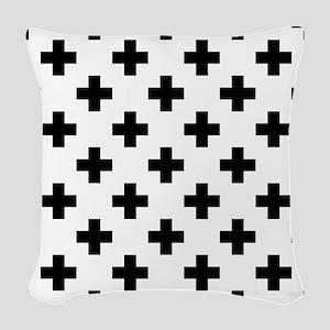 Black & White Plus Sign Patter Woven Throw Pillow