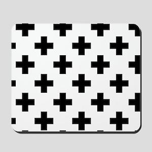 Black & White Plus Sign Pattern (Reverse Mousepad