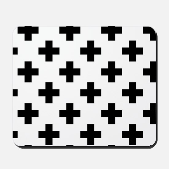 Black & White Plus Sign Pattern (Reverse Mousepad