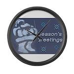 Santa Season's Greetings Large Wall Clock