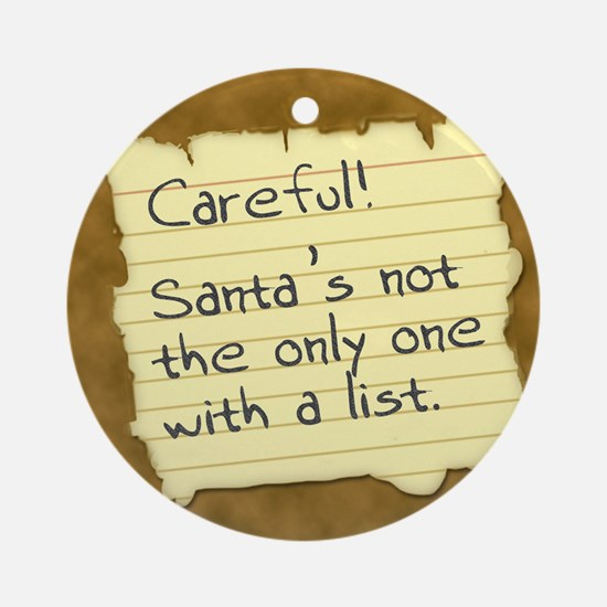 Santa's List Ornament (Round)