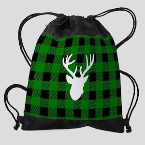 Green Buffalo Plaid: Deer Drawstring Bag