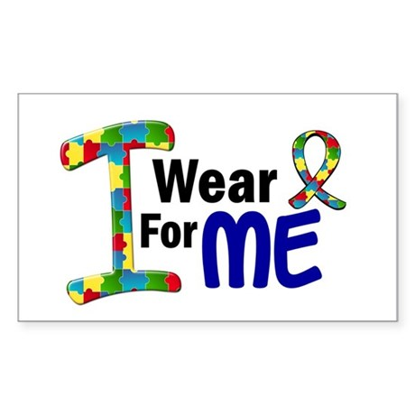 I Wear Puzzle Ribbon 21 (ME) Rectangle Sticker
