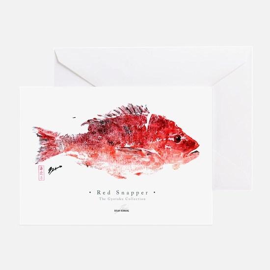 """Red Snapper"" - Gyotaku - Greeting Card"
