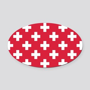 Red Plus Sign Pattern Oval Car Magnet