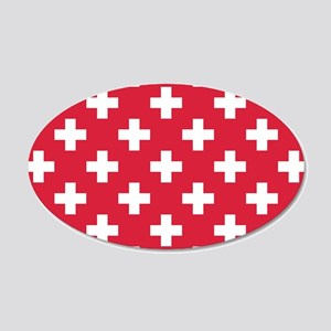 Red Plus Sign Pattern 20x12 Oval Wall Decal