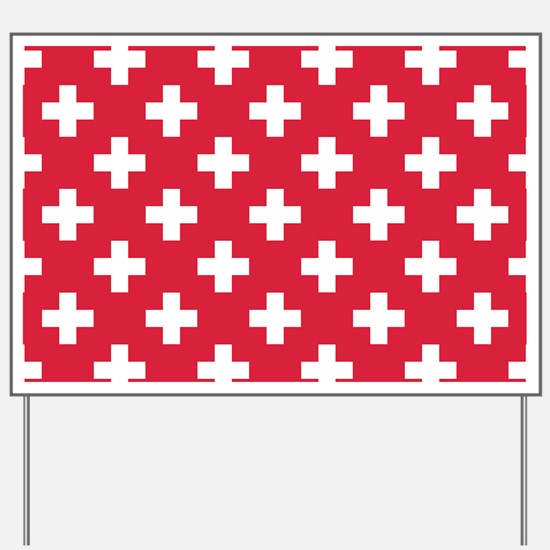 Red Plus Sign Pattern Yard Sign