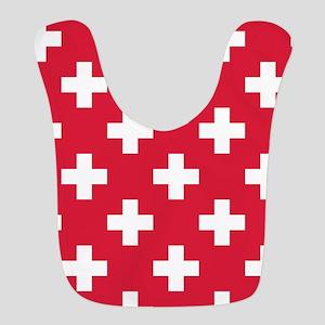 Red Plus Sign Pattern Polyester Baby Bib