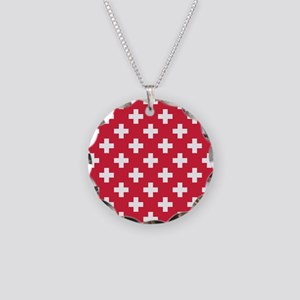 Red Plus Sign Pattern Necklace Circle Charm