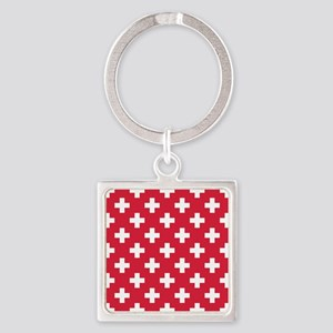 Red Plus Sign Pattern Square Keychain