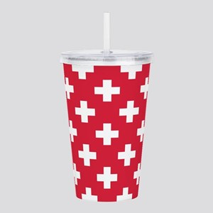 Red Plus Sign Pattern Acrylic Double-wall Tumbler