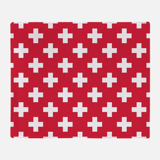 Red Plus Sign Pattern Throw Blanket