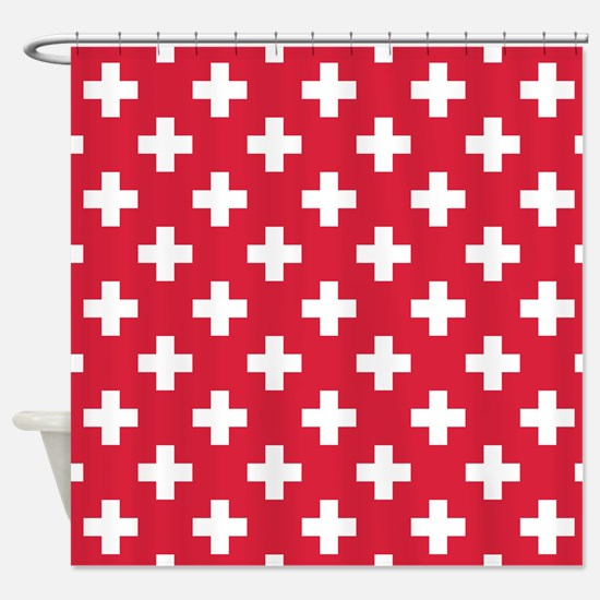 Red Plus Sign Pattern Shower Curtain