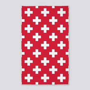 Red Plus Sign Pattern Area Rug