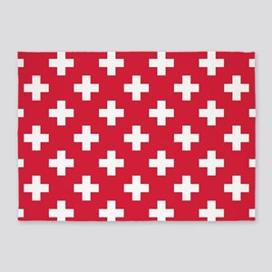 Red Plus Sign Pattern 5'x7'Area Rug