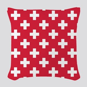 Red Plus Sign Pattern Woven Throw Pillow