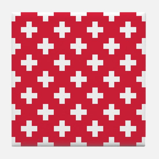 Red Plus Sign Pattern Tile Coaster
