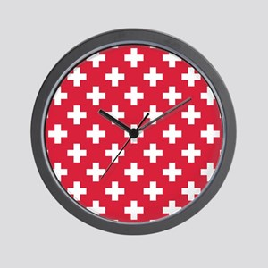 Red Plus Sign Pattern Wall Clock