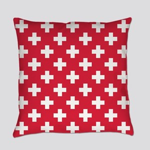 Red Plus Sign Pattern Everyday Pillow