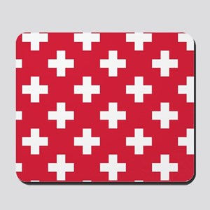 Red Plus Sign Pattern Mousepad