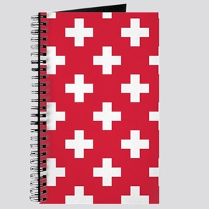 Red Plus Sign Pattern Journal