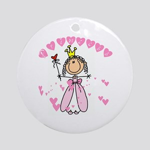 Pink Hearts Princess Ornament (Round)