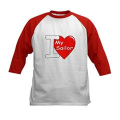I Love My Sailor (Front) Kids Baseball Jersey